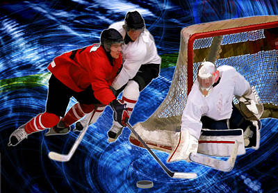 Winter Sports Painting - Action At The Hockey Net by Elaine Plesser
