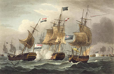 Action Off Camperdown Print by Thomas Whitcombe