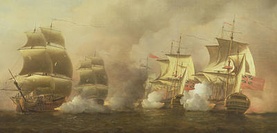 Of Pirate Ship Painting - Action Off The Cape Of Good Hope by Samuel Scott