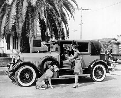 1927 Photograph - Actress And Dogs Go On Trip by Underwood Archives