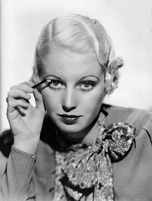 Actress Curls Her Lashes Print by Underwood Archives