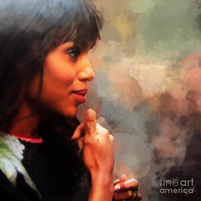 Actress Kerry Washington Print by Nishanth Gopinathan