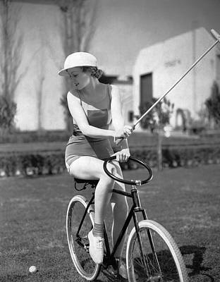 1931 Movies Photograph - Actress Plays Bike Polo by Underwood Archives