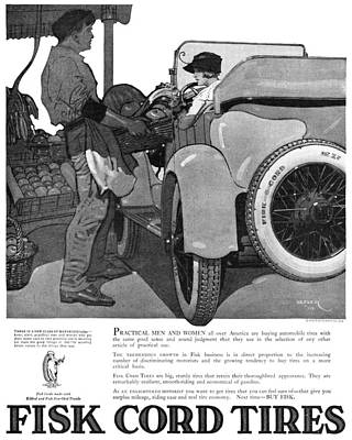 Fruit Stand Painting - Ad Fisk Cord Tires, 1919 by Granger