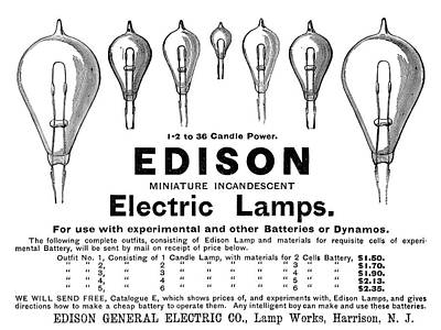 Ad Lightbulbs, 1890 Print by Granger