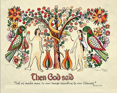 Adam And Eve Fraktur Art Original by Joan Shaver