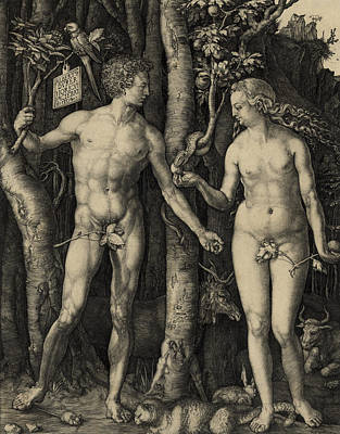 Adam And Eve In The Garden Of Eden - Albrecht Durer 1504 Print by Daniel Hagerman