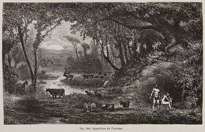 Bible Photograph - Adam And Eve In The Garden Of Eden by British Library