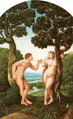 Adam And Eve Print by Jan Van Scorel