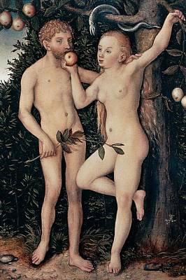 Adam And Eve Print by Lucas Cranach Elder