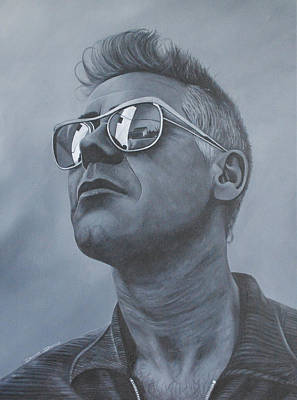 Bono Painting - Adam Clayton U2 by David Dunne