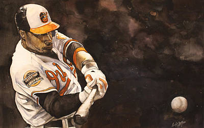 Adam Jones Print by Michael  Pattison