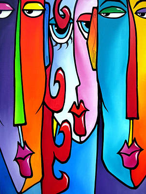 Abstract Pop Drawing - Adams And Eve by Tom Fedro - Fidostudio