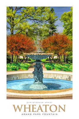 Bronze Painting - Adams Park Fountain Poster by Christopher Arndt