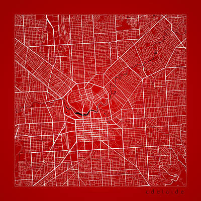Adelaide Digital Art - Adelaide Street Map - Adelaide Australia Road Map Art On Color by Jurq Studio