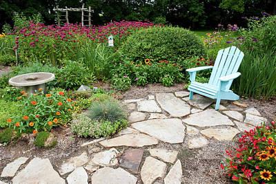 Begonias Photograph - Adirondack Chair, Birdbath by Panoramic Images