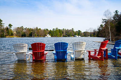Muskoka Photograph - Adirondack Chairs Partially Submerged by Panoramic Images