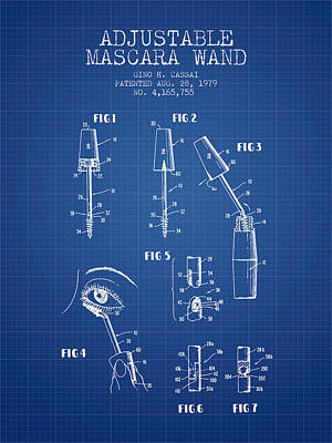 Mascara Drawing - Adjustable Mascara Wand Patent From 1979 - Blueprint by Aged Pixel