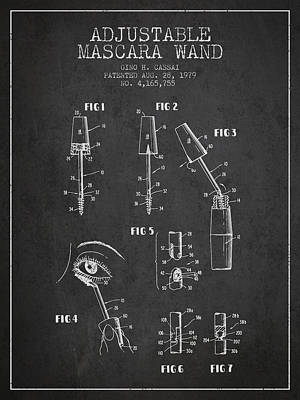 Mascara Drawing - Adjustable Mascara Wand Patent From 1979 - Charcoal by Aged Pixel