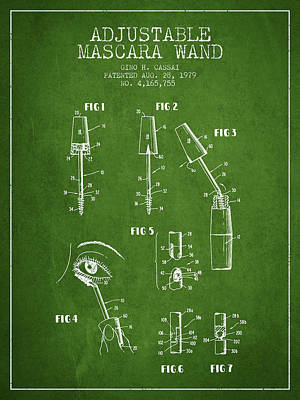 Mascara Drawing - Adjustable Mascara Wand Patent From 1979 - Green by Aged Pixel