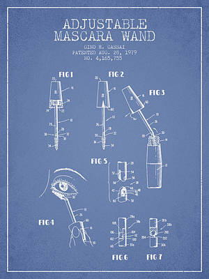 Mascara Drawing - Adjustable Mascara Wand Patent From 1979 - Light Blue by Aged Pixel