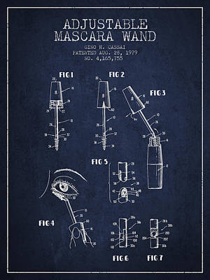 Mascara Drawing - Adjustable Mascara Wand Patent From 1979 - Navy Blue by Aged Pixel