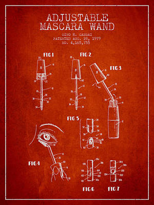 Mascara Drawing - Adjustable Mascara Wand Patent From 1979 - Red by Aged Pixel