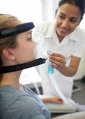 Physiotherapist Photograph - Adjusting Ventilator Mask by Science Photo Library