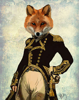 Animal Portrait Digital Art - Admiral Fox Full by Kelly McLaughlan