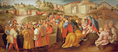 Adoration Of The Magi, Known As The Benintendi Epiphany Oil On Panel Print by Jacopo Pontormo