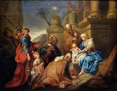 Adoration Of The Magi Oil On Canvas Print by Jacques Stella