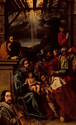 Adoration Of The Shepherds Shepherd Infant Jesus Christ Baby Child Joseph Painting - Adoration Of The Magi by Unknown