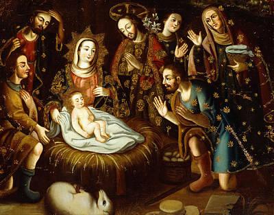 Nativity Scene Painting - Adoration Of The Sheperds by Gaspar Miguel de Berrio