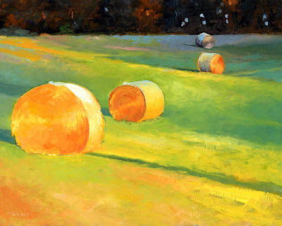 Advance Mills Hall Bales Print by Catherine Twomey