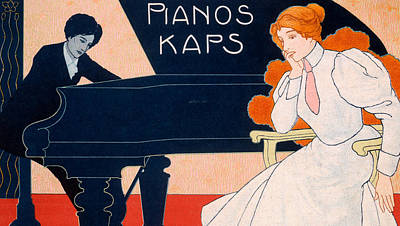 Playing Drawing - Advertisement For Kaps Pianos by Hans Pfaff