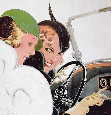 Car Drawing - Advertisement For Solex Carburettors by Rene Vincent