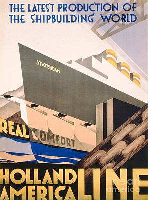 Travel Drawing - Advertisement For The Holland America Line by Hoff