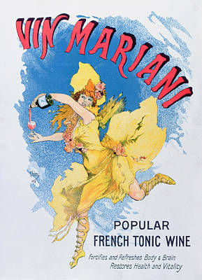 Cocktails Drawing - Advertisement For Vin Mariani From Theatre Magazine by English School