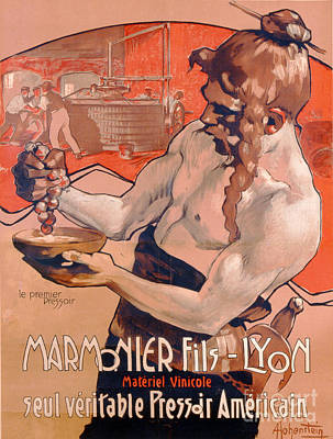 White Drawing - Advertisemet For Marmonier Fils Lyon by Adolfo Hohenstein