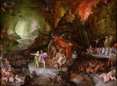 Monster Photograph - Aeneas And The Sibyl In The Underworld, 1598 Oil On Copper by Jan the Elder Brueghel