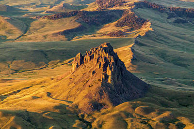 Aerial Of Birdtail Butte In Cascade Print by Chuck Haney