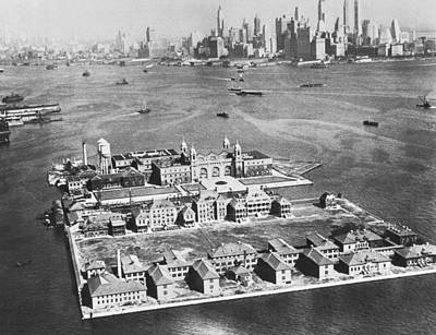 Barracks Photograph - Aerial Of Ellis Island by Underwood Archives