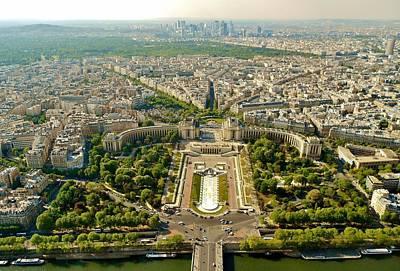 City Photograph - Aerial Paris Skyline From Eiffel Tower by David Lobos