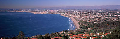 Beverly Hills Photograph - Aerial View Of A City At Coast, Santa by Panoramic Images