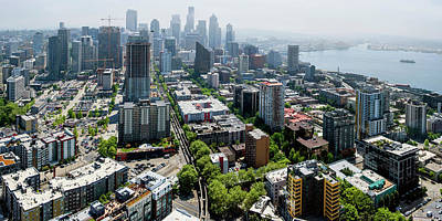 Seattle Skyline Photograph - Aerial View Of A City, Seattle, King by Panoramic Images