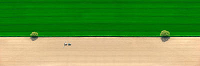 Aerial View Of A Tractor In Field Print by Panoramic Images