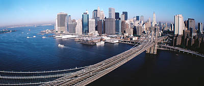 Aerial View Of Brooklyn Bridge, Lower Print by Panoramic Images