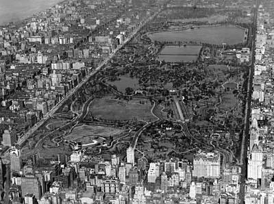 Birds Eye View Photograph - Aerial View Of Central Park by Underwood Archives