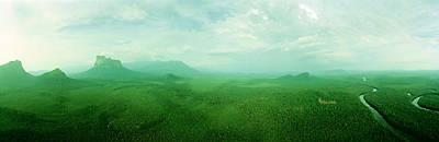 Aerial View Of Green Misty Landscape Print by Panoramic Images