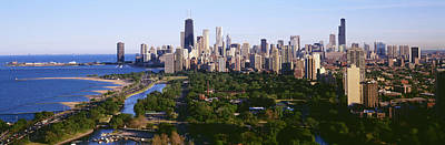 Urban Trees Photograph - Aerial View Of Skyline, Chicago by Panoramic Images